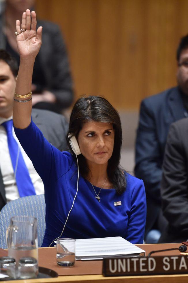 美國駐聯合國大使海理原本計畫宣布新一輪制裁俄國與敘利亞行動,但川普總統急踩煞車。(Getty Images)
