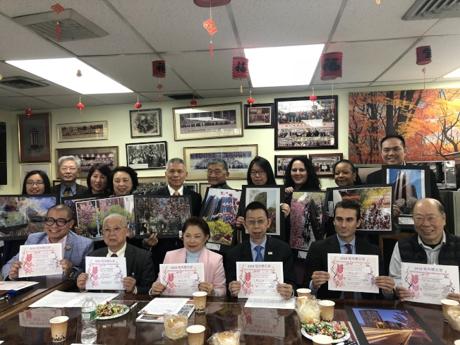紐約中華總商會、孔子大廈董事會和孔子大廈租戶聯誼會主辦的華埠櫻花節將於28日登場。(記者陳小寧/攝影)