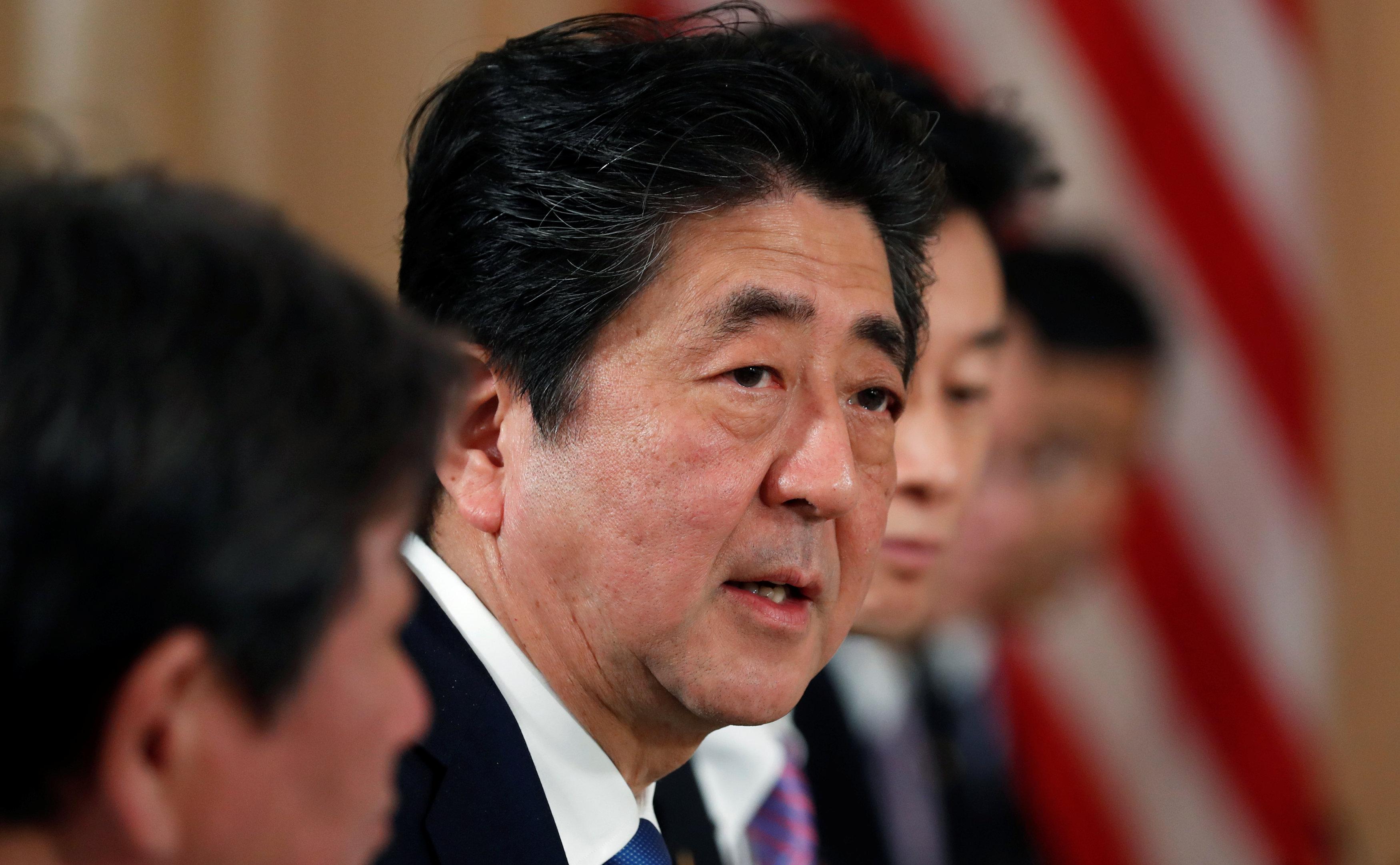美日在佛州海湖莊園舉行峰會,圖為日本首相安倍晉三。(路透)