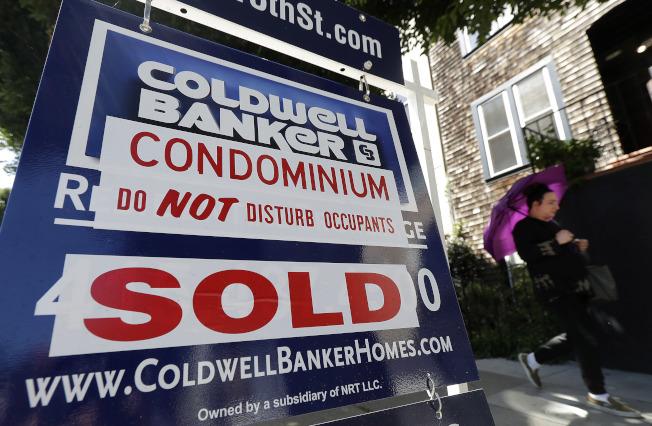 美國房價上漲,圖為加州舊金山一棟已售出的房屋。(美聯社)
