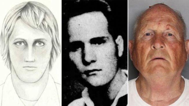 72歲的前員警迪安傑洛(右,Joseph James DeAngelo),已因被控2項謀殺罪被關入沙加緬度郡監獄。圖左為當年的畫像。(警方提供)