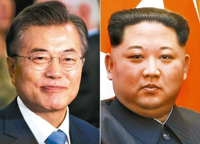 南韓總統文在寅(左圖),北韓領導人金正恩(右圖)。聯合報系資料照片。