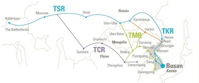 朝鮮半島到蒙古主要鐵路。