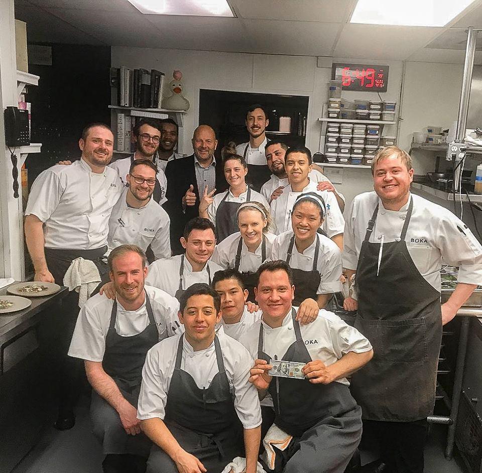 芝加哥Boka餐廳得到客人2000元小費。(取自Boka餐廳臉書)