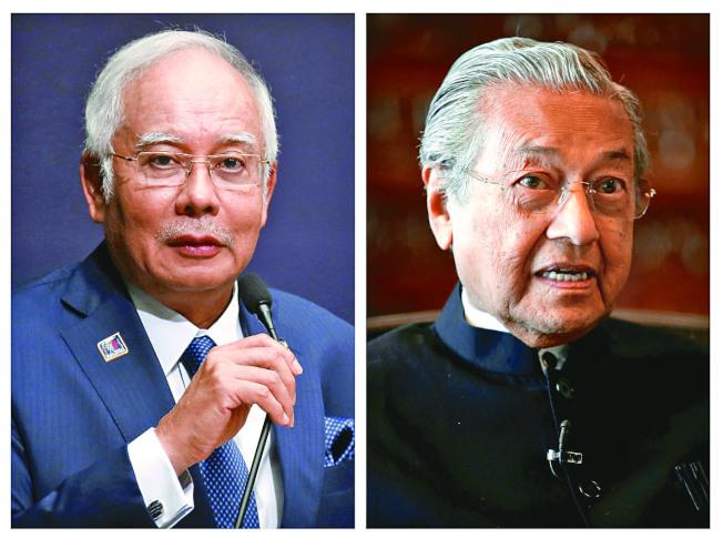 馬來西亞9日將舉行國會大選,由現任總理納吉(左)對決前總理馬哈迪(右)。(路透)