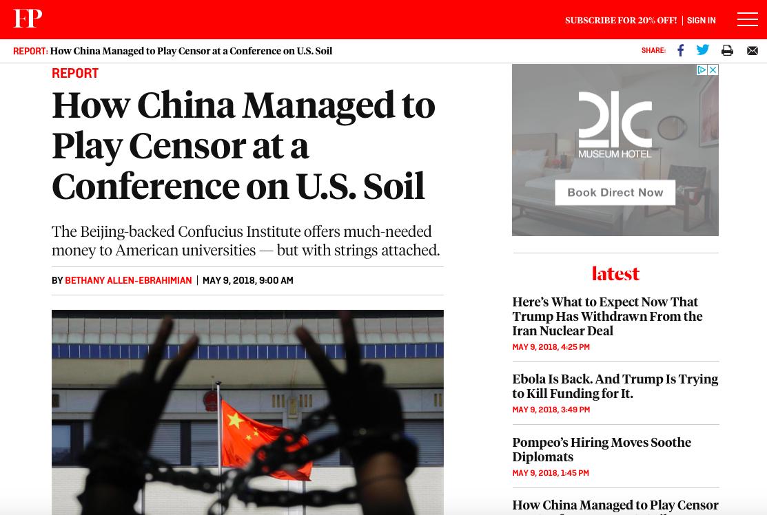 美國雜誌「外交政策」(Foreign Policy)網站9日刊出一篇文章,指中國滲透美國教育機構,並審查在美舉辦的會議。圖/取自外交政策網站
