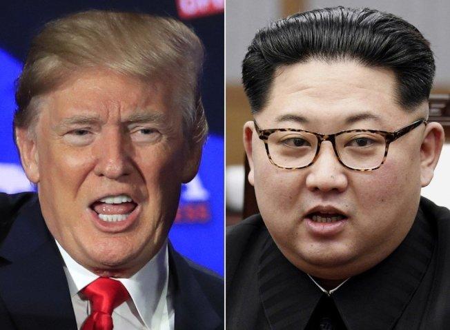 韓聯社報導,北韓領袖金正恩(右)將於6月13日在新加坡與美國總統川普(左)舉行峰會。美聯社