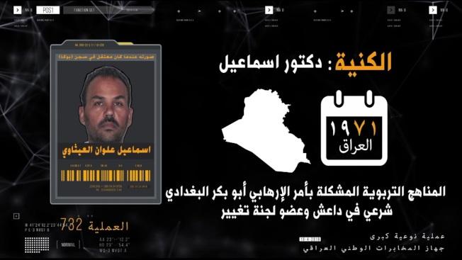 伊拉克電視台截圖顯示,被捕的五名伊斯蘭國頭目。(美聯社)