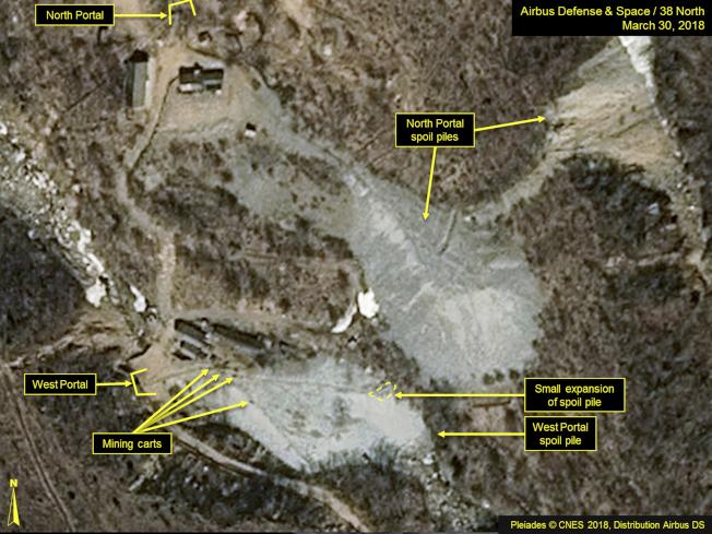 這是衛星拍攝的北韓豐溪里核試場。(美聯社)