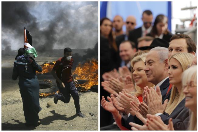 美國駐以色列大使館14日遷移到耶路撒冷,風光開幕(右圖);同一時間,加薩與以色列邊境爆發流血衝突(左圖)。(美聯社)