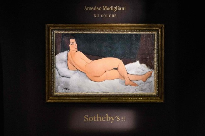 義大利畫家莫迪里亞尼畫作「斜躺的裸女」。(法新社)