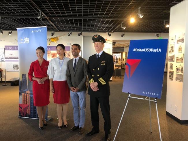 達美航空(Delta)15日向媒體展示其新機型A350。(記者張宏/攝影)