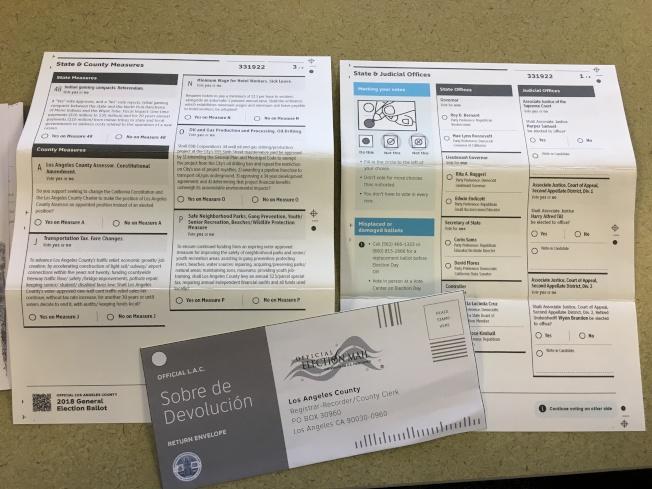 11月選舉將採用的新郵寄選票。(記者陳開/攝影)