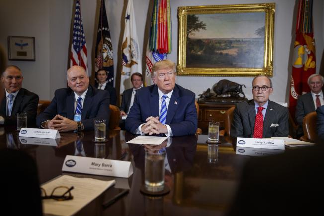 川普總統在白宮召開會議,右為白宮經濟顧問庫德洛。(美聯社)
