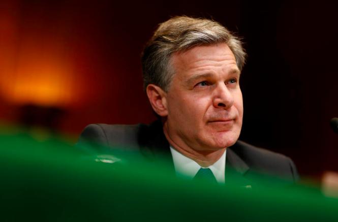 聯邦調查局長雷伊在參院就2019財年預算作證時,提到美方很擔心中興這類企業。(路透)