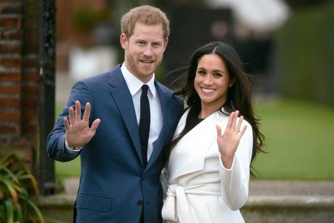 英國哈利王子(左)和未婚妻梅根馬克爾(右)。歐新社