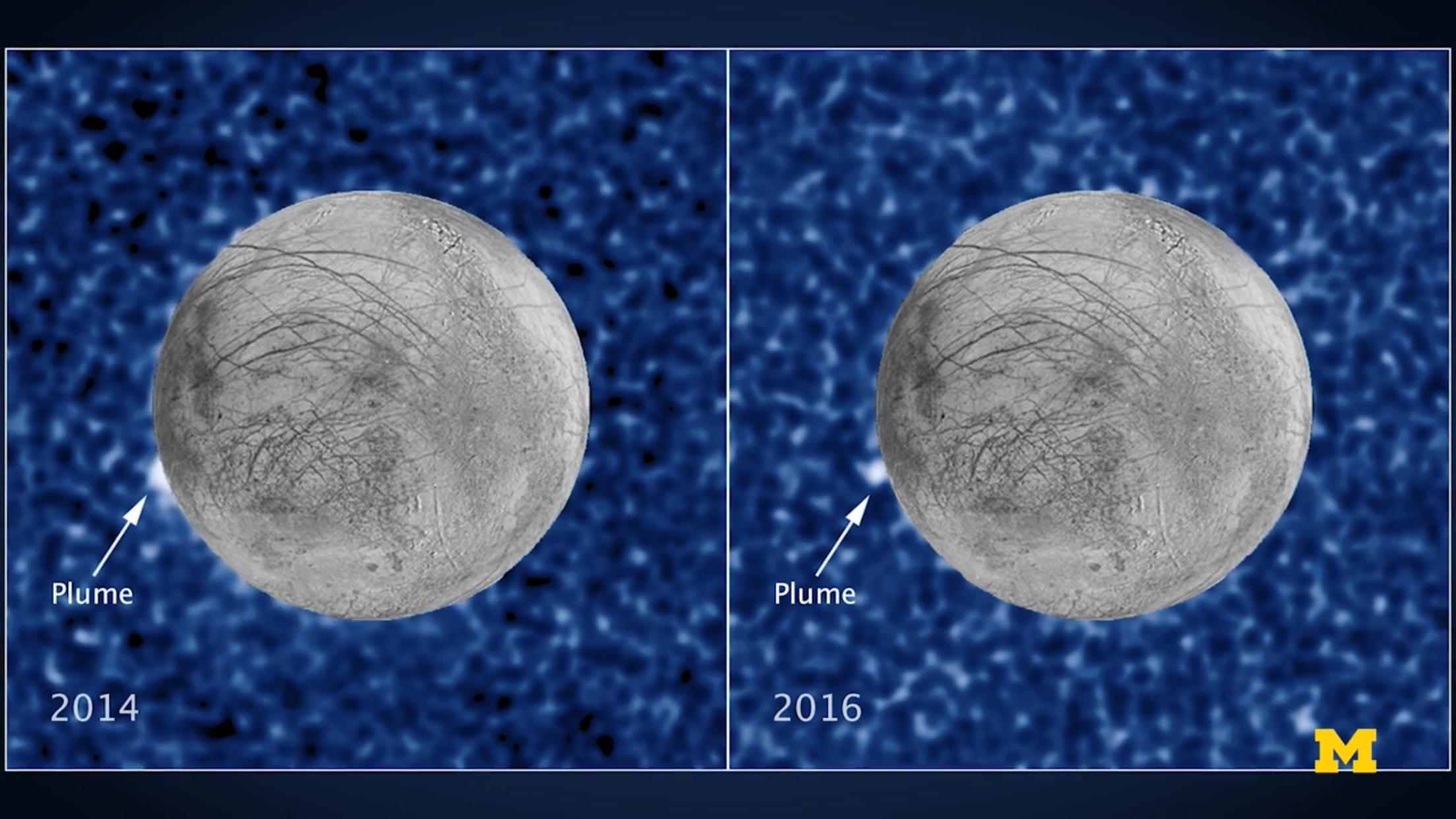 哈柏天文望遠鏡(Hubble Space Telescope)曾在木衛二多次拍攝到「羽流」現象。(密大提供)