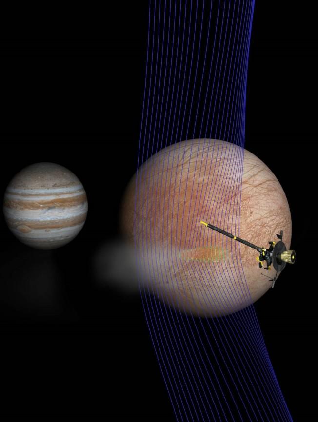 木星的第二顆衛星Europa(右),可能潛在巨大海洋。(NASA直播截圖)