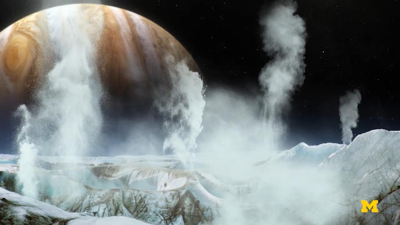木星的第二顆衛星「木衛二」(Europa),可能潛在巨大海洋。(密大提供)