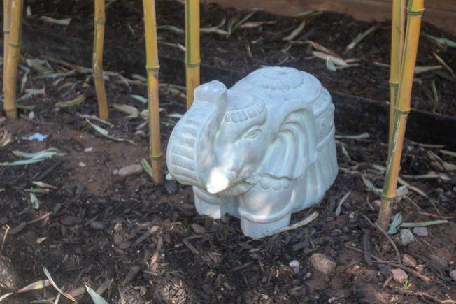 夫婦在把失物交還後,在挖出保險箱的地方擺了大象雕像紀念。圖擷自silive.com
