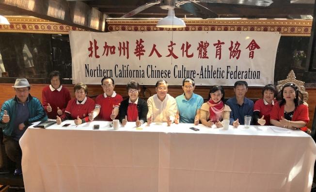 北加州華人文化體育協會於26日在紐華克舉辦記者會,宣布華體會「同聲同祖同心同行」運動大會各項賽程。(記者林亞歆/攝影)