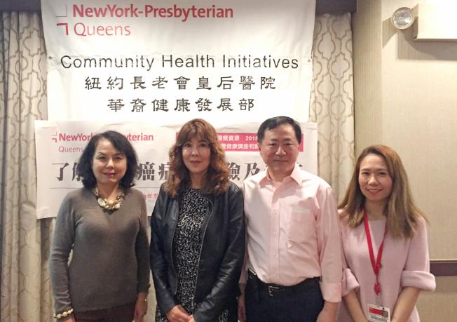左起為紐約長老會皇后醫院華裔健康發展部主任楊明德博士、維拉尼、喬學嬰。(記者朱澤人/攝影)