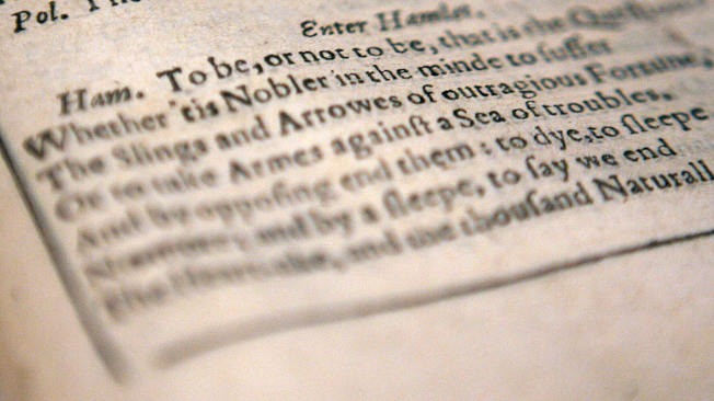 《哈姆雷特》第一幕的劇本。(Getty Images)