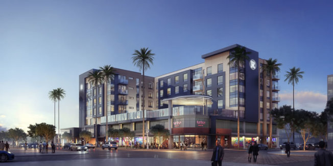 舊的河濱市一號消防站將改造為星級酒店的未來效果圖。(河濱市府)