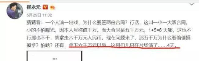崔永元在微博上揭發演藝圈有兩份合同。(取自微博)