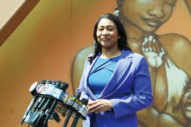布里德接受傳媒訪問時表示,優先選擇投票(Ranked-Choice)是舊金山的制度,她並無異議。(記者李/攝影)