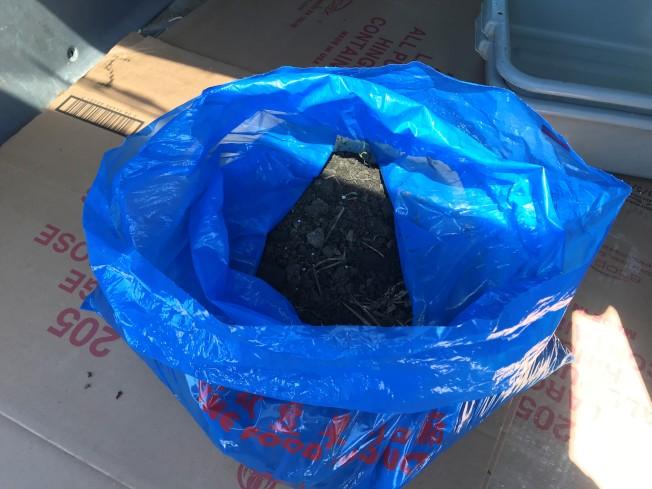 China City東主陳先生向本報出示這次網路圍剿事件的「元兇」─裝著泥土的藍色塑膠袋。(特派員黃惠玲╱攝影)