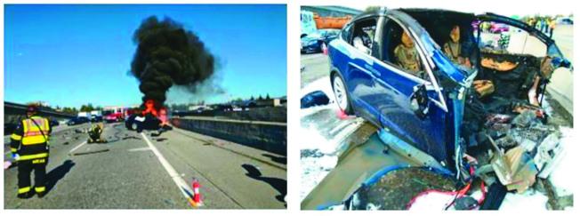 黃偉駕駛的Tesla在公路撞上路障後,曾著火燃燒,人死車毀。(取材自全國運輸安全委員會)