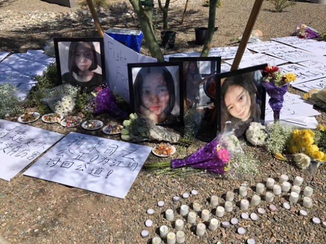 江玥的家人11日上午在亞利桑納天帕市百老匯大道兩年前江玥遇害現場舉行追思活動,呼籲司法公正。(家人提供)