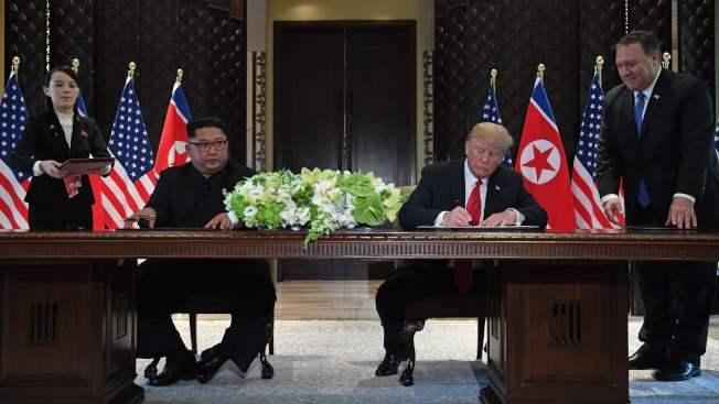 總統川普與北韓領導人金正恩昨天在新加坡會晤,並簽署聯合聲明。Getty Images