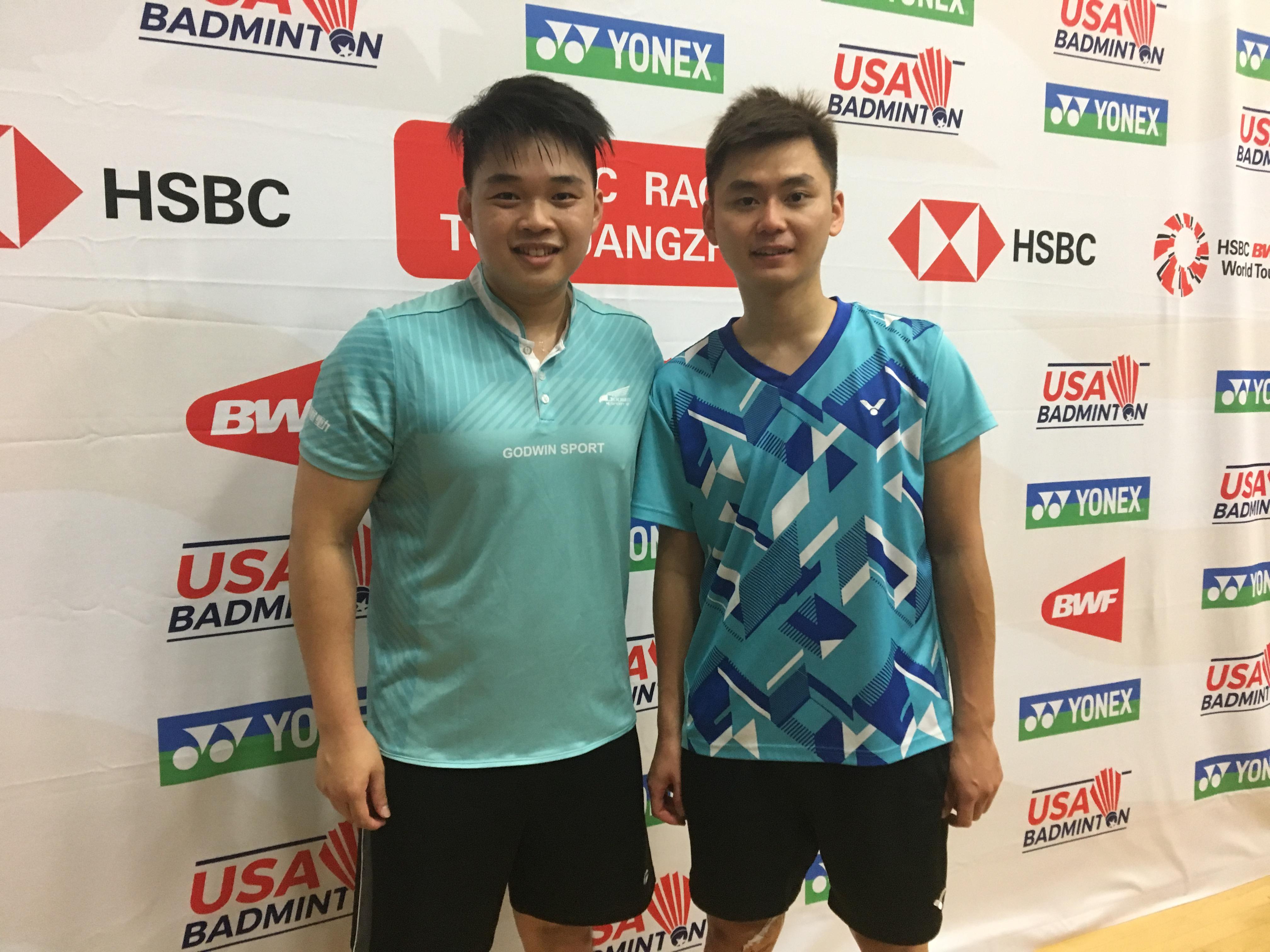 2018美國羽毛球公開賽12日正式開打,台灣男子雙打選手甘超宇(右)、廖啟宏(左)首場比賽對陣美國選手,以21比15連勝兩局,將對方淘汰。(記者啟鉻/攝影)
