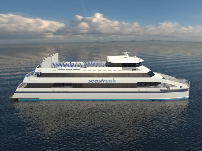 即將在紐約和新州孟莫斯郡之間啟用的「準將號」,是全美最快的渡輪。(圖:SeaStreak提供)