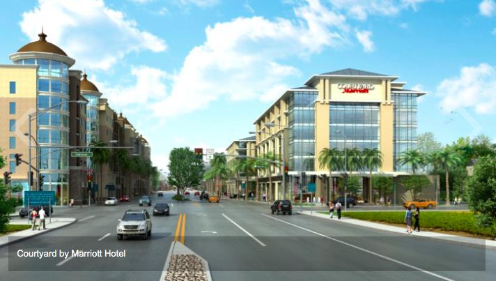 「萬豪花園酒店」(Marriott Courtyard)已經雛形初現,未來將與大西洋廣場對街相望。(記者高梓原/攝影)