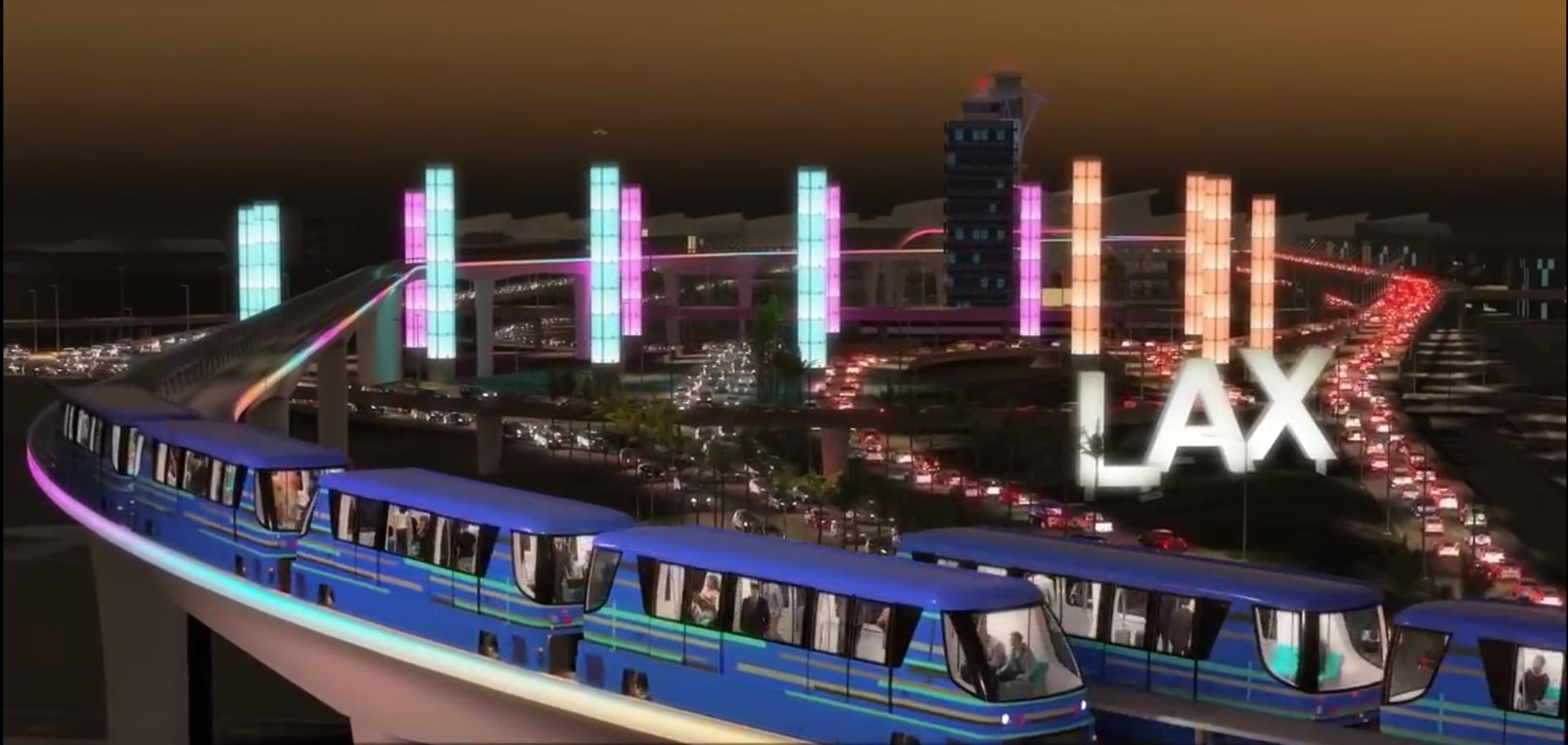 洛杉磯國際機場輕軌列車虛擬圖。(視頻截圖)