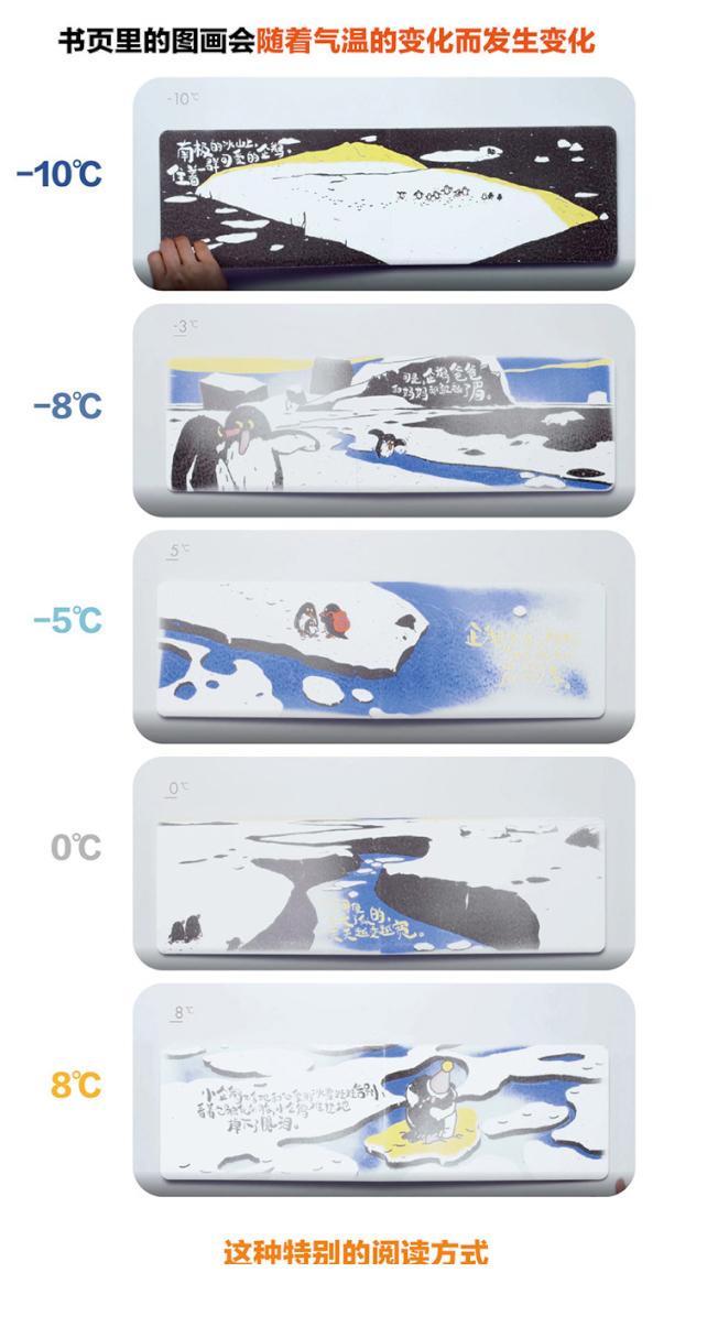 中國第一本會消失的繪本《企鵝冰書》,閱讀前需先放冰箱冷凍,隨著溫度升高,圖文會慢慢消失。(取材自北京青年報)