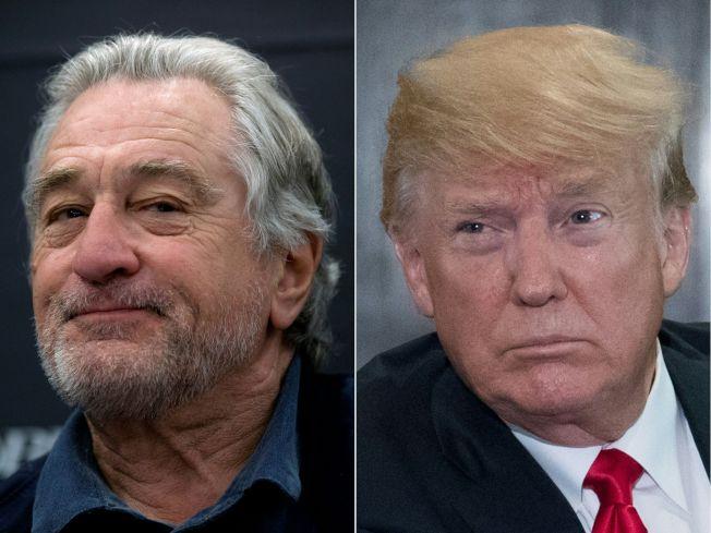美國總統川普(右)發了一連串推文抨擊演員勞勃狄尼洛(左)。Getty Images