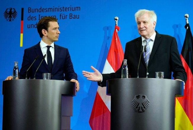 奧地利總理庫爾茨(Sebastian Kurz)與德國內政部長賽賀佛(Horst Seehofer)在柏林會談後宣示打擊非法移民的決心。 歐新社