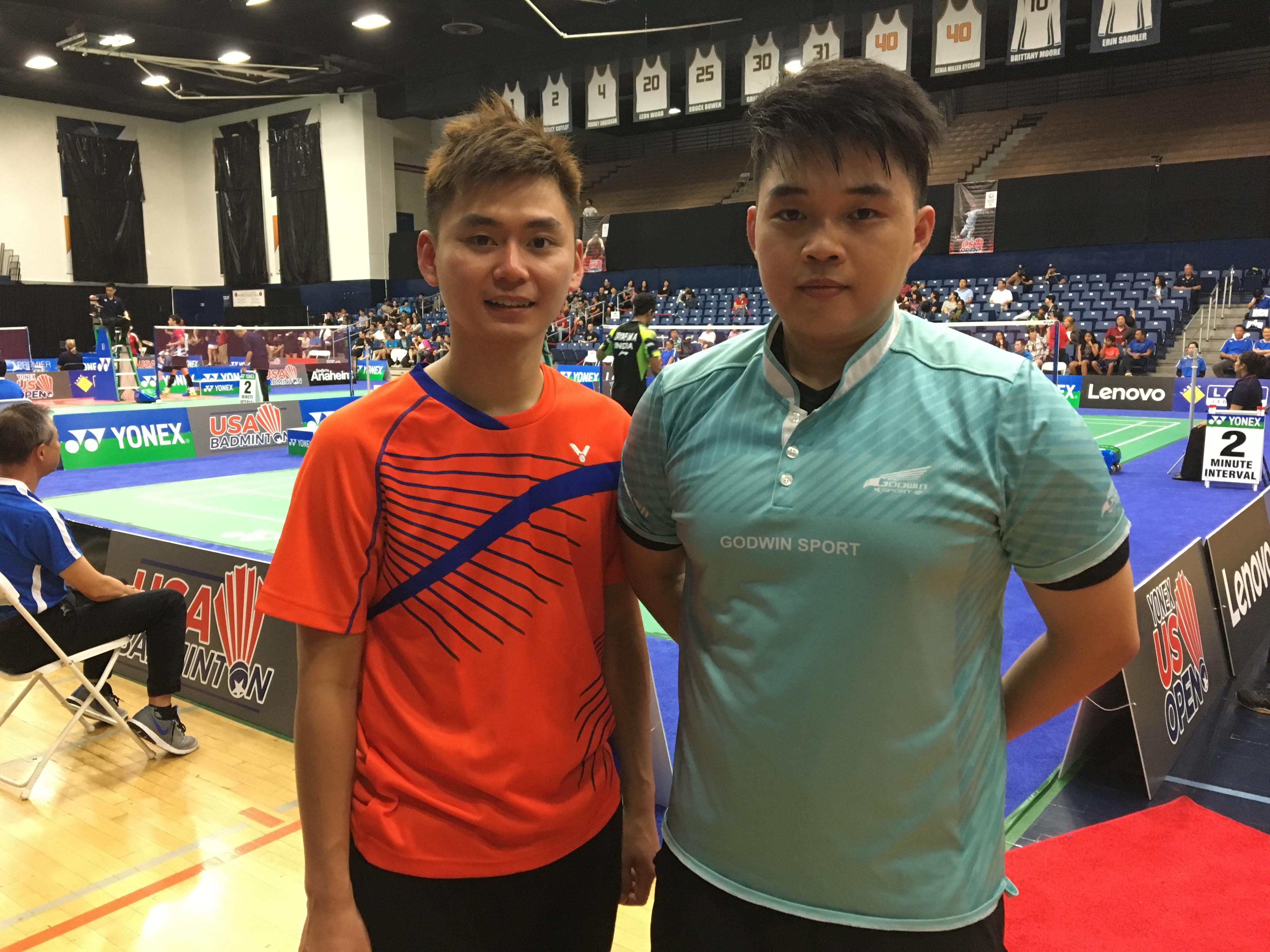 台灣雙打選手甘超宇(左)、廖啟宏(右)13日對陣韓國選手,以2比1失利。(記者啟鉻/攝影)