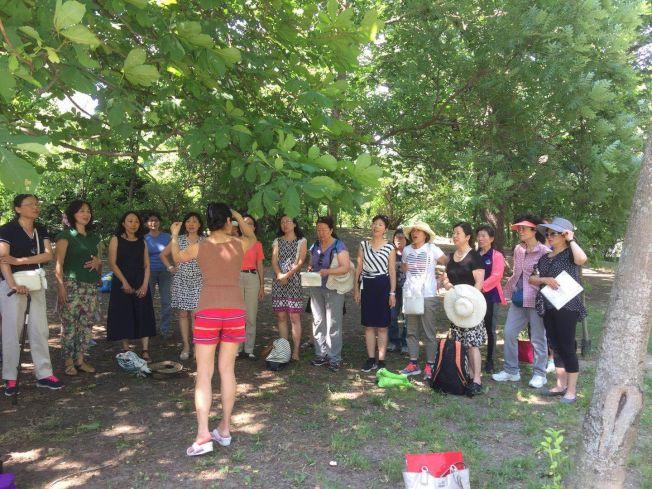合唱團成員抓緊時間在當地公園排練。(華夏合唱團提供)