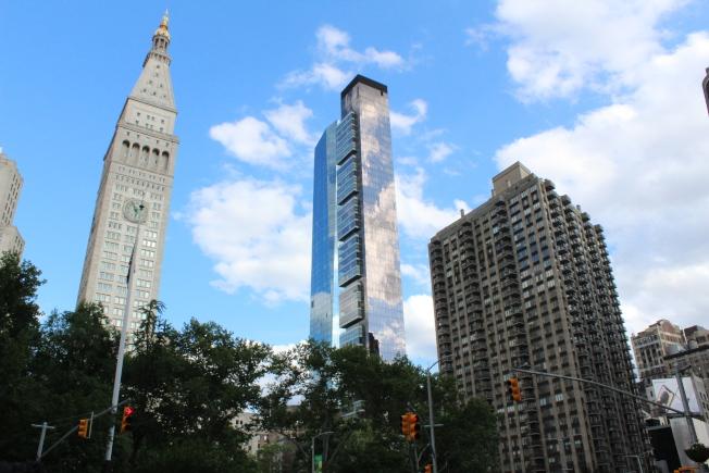 麥迪遜廣場公園與新建摩天住宅樓。(記者劉大琪/攝影)
