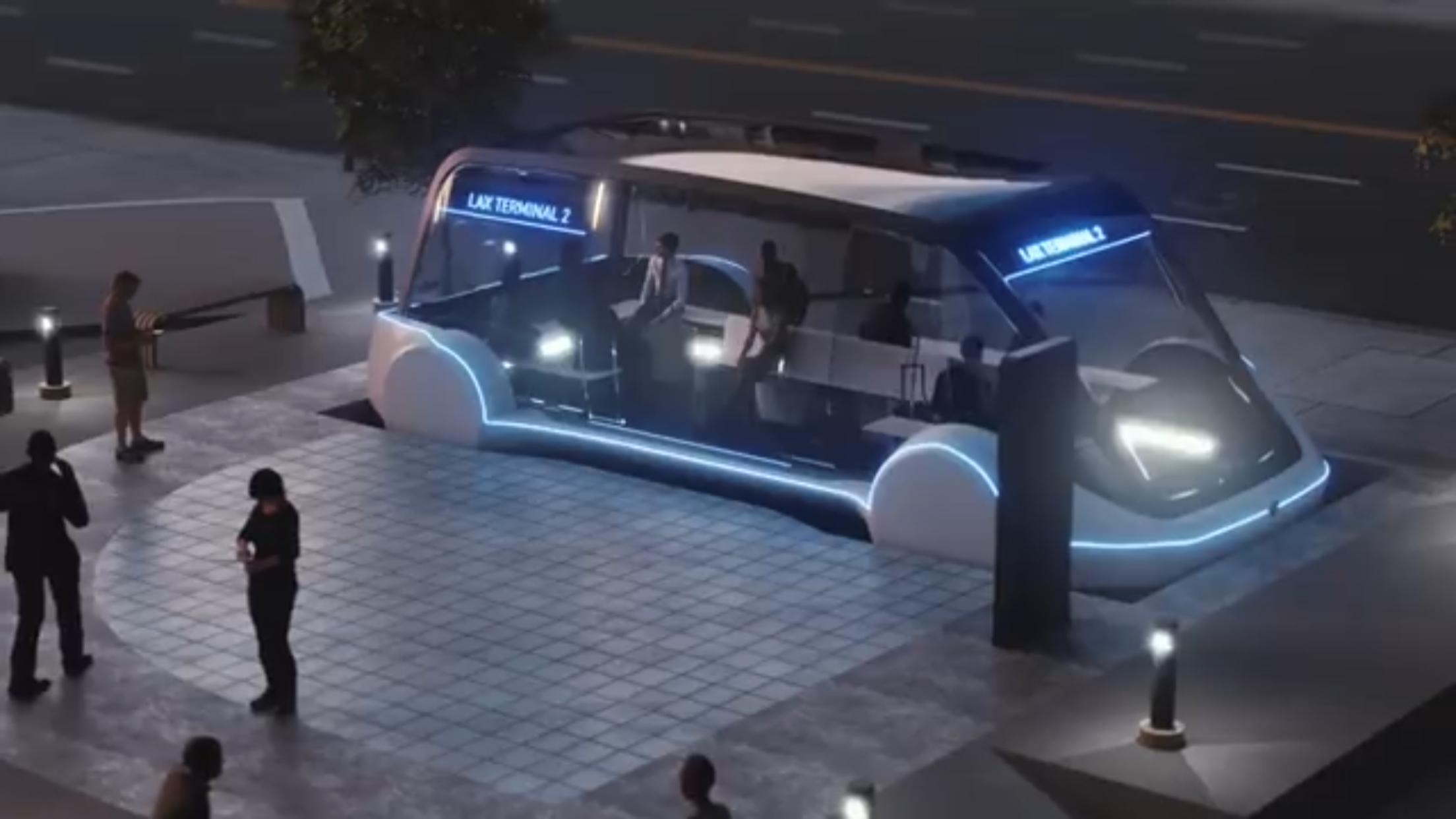 馬斯克旗下柏林公司所設計的「滑板式」隧道車,將成為芝加哥市區與歐海爾機場的未來交通選項之一。(Boring公司視頻截圖)