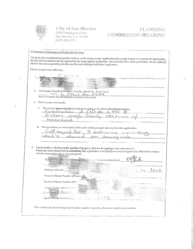 在該房屋申請改建的文件上,所有屋主一欄,僅有何震亞的簽名。(聖瑪利諾市公共紀錄)