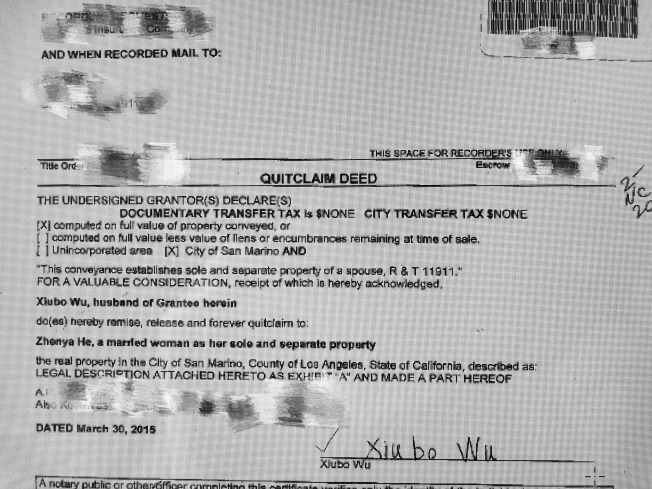 吳秀波簽署「除名契」(Quit Claim Deed)將產權完全轉讓給妻子。(洛縣產權公共紀錄)