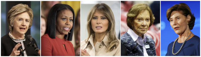現任第一夫人及過去四位前第一夫人,先後批評川普總統「零容忍」移民執法。左起柯林頓總統夫人、歐巴馬總統夫人、川普總統夫人、卡特總統夫人、小布希總統夫人。(美聯社)