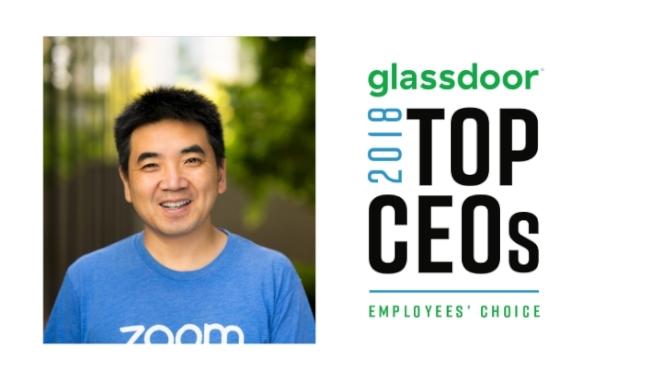 雲端視訊會議服務公司「Zoom」的華裔CEO袁征。圖/截取自Glassdoor