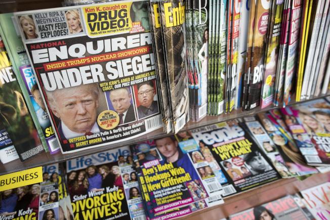 國家詢問報去年夏天出刊一期以川普為封面的報導。(美聯社)